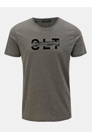 Šedé žíhané tričko s potiskem Selected Homme