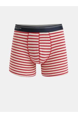 Krémovo-červené pruhované boxerky Selected Homme Classic