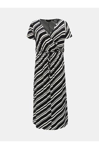 Bílo-černé pruhované maxišaty s překládaným výstřihem Dorothy Perkins Curve