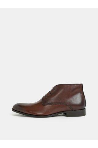 Tmavě hnědé pánské kožené kotníkové boty Burton Menswear London
