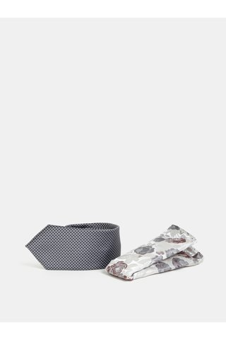 Šedá vzorovaná slim kravata s květovaným kapesníčkem Burton Menswear London