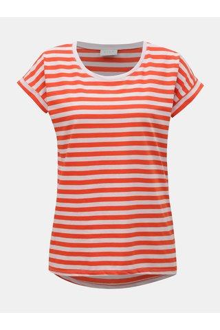 Růžovo-červené pruhované basic tričko VILA Dreamers