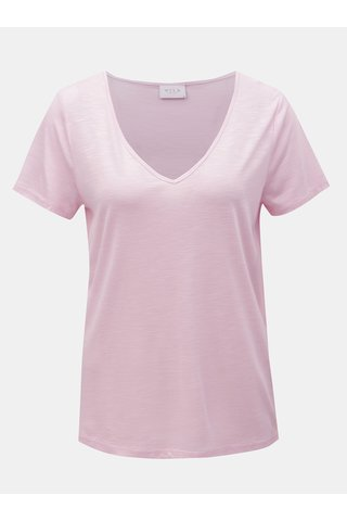 Růžové basic tričko VILA Noel