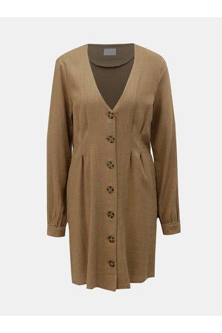 Hnědé lněné šaty VILA Linnan