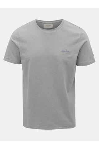 Šedé žíhané slim tričko Jack & Jones Gonzo