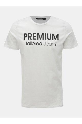 Bílé slim fit tričko s potiskem Jack & Jones Logo