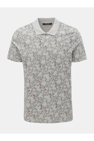 Šedé květované slim fit polo tričko Jack & Jones Canton