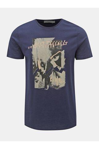 Tmavě modré slim fit tričko s potiskem Jack & Jones Mike