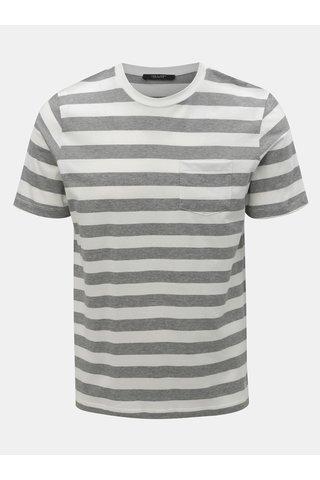 Šedo-bílé pruhované slim fit tričko Jack & Jones Normann