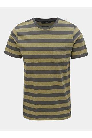 Zeleno-šedé pruhované slim fit tričko Jack & Jones Normann