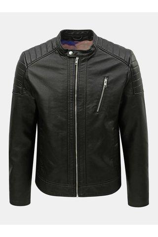 Černá koženková bunda Jack & Jones Wheels