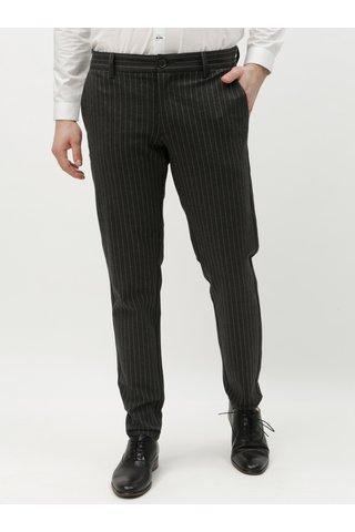 Tmavě šedé pruhované kalhoty ONLY & SONS Mark