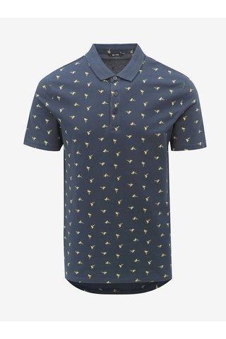 Tmavě modré polo tričko s motivem plameňáků ONLY & SONS Flamingo