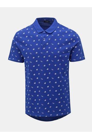 Modré polo tričko s letním motivem ONLY & SONS Flamingo