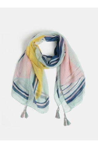 Růžovo-mentolový vzorovaný šátek Pieces Bolivia