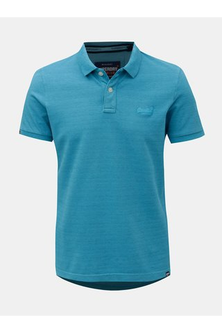 Modré pánské žíhané polo tričko Superdry