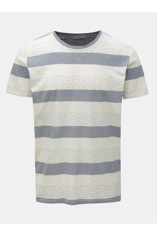 Modro-krémové vzorované tričko Selected Homme Kristian
