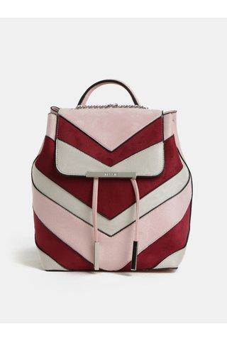 Vínovo-růžový batoh v semišové úpravě Bessie London