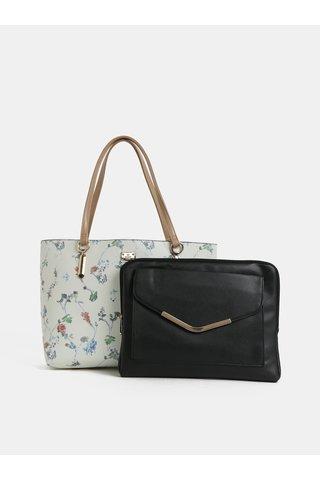 Krémový květovaný shopper s pouzdrem na notebook 2v1 Bessie London