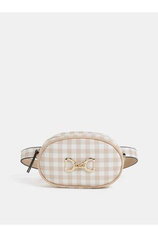 Bílo-béžová kostkovaná ledvinka/crossbody kabelka Bessie London
