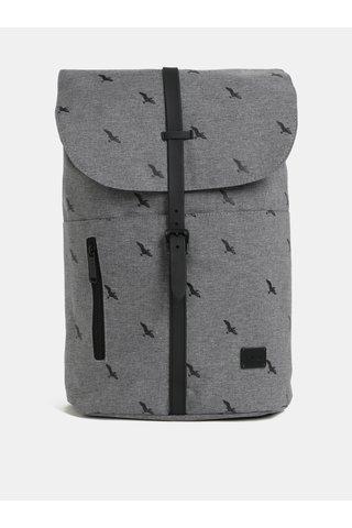 Šedý žíhaný batoh s motivem ptáků Spiral Tribeca 14 l