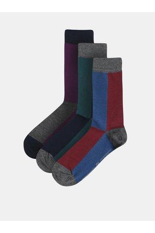 Sada tří párů ponožek v šedé a modré barvě Burton Menswear London
