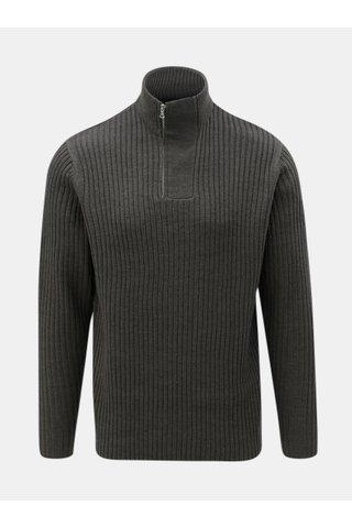 Tmavě šedý svetr se zipem Menswear London