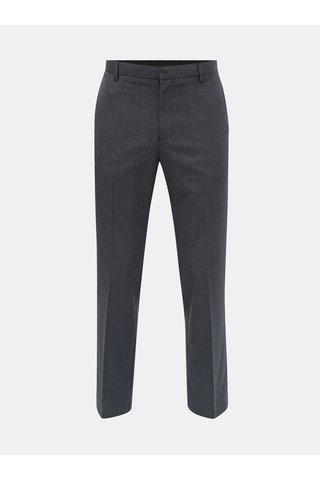 Tmavě modré kostkované tailored fit kalhoty Burton Menswear London
