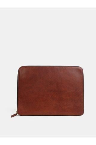 Hnědé kožené pouzdro na notebook Vagabond Vejle
