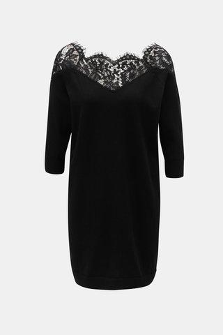 Černé svetrové šaty s krajkou ONLY Ally