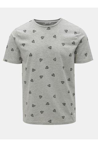 Šedé žíhané tričko s potiskem ONLY & SONS Epus