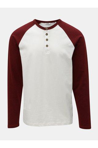 Bílé tričko s dlouhým rukávem a knoflíky ONLY & SONS Elton