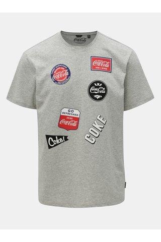 Šedé žíhané regular fit tričko s potiskem ONLY & SONS Fresh Cola