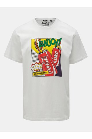 Bílé regular fit tričko s potiskem ONLY & SONS Fresh Cola