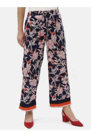 Tmavě modré květované kalhoty Jacqueline de Yong Yadira