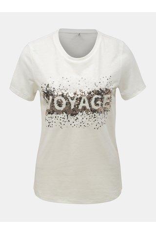 Krémové tričko s příměsí lnu ONLY Lina