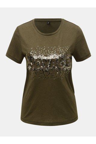 Khaki tričko s příměsí lnu ONLY Lina