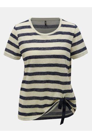 Modro-béžové pruhované tričko ONLY Rill