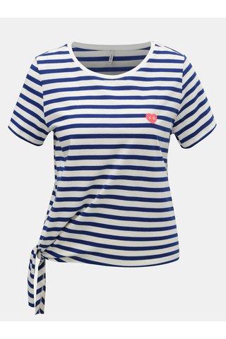 Bílo-modré pruhované tričko ONLY Brave