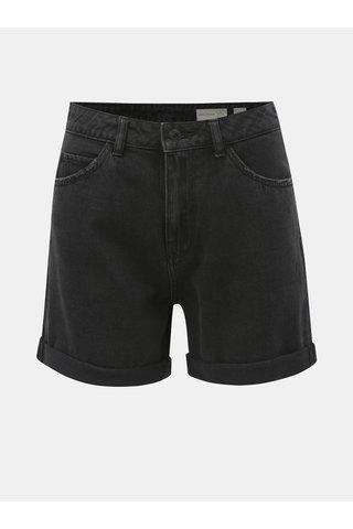 Tmavě šedé džínové kraťasy s vysokým pasem VERO MODA Nineteen