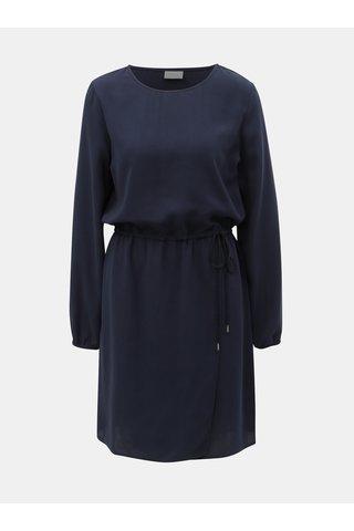 Tmavě modré šaty s překládanou sukní VILA Sarina