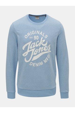 Světle modrá žíhaná mikina s potiskem Jack & Jones Summer Time