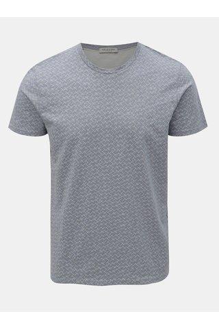 Světle modré vzorované tričko Selected Homme Kristian