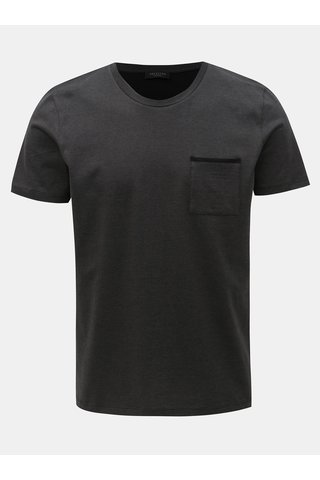 Tmavě šedé tričko s náprsní kapsou Selected Homme Poe