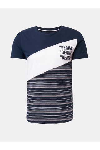 Bílo-modré tričko s potiskem Tom Tailor Denim
