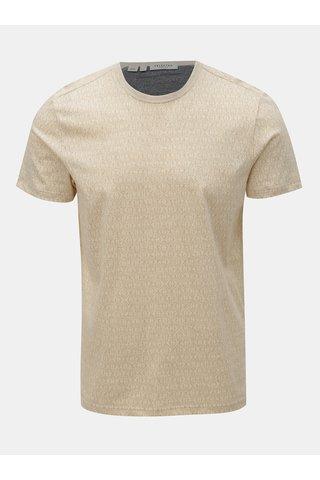 Béžové vzorované tričko Selected Homme Sander