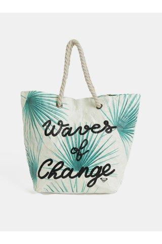 Krémová papírová plážová taška s tropickým vzorem taška Roxy Waves of Change