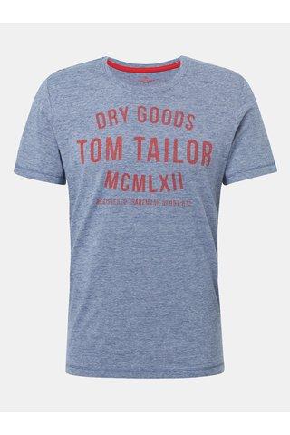 Modré pánské žíhané tričko s potiskem Tom Tailor