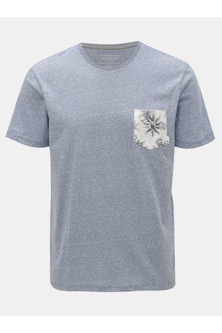 Světle modré žíhané modern fit tričko s kapsou Quiksilver