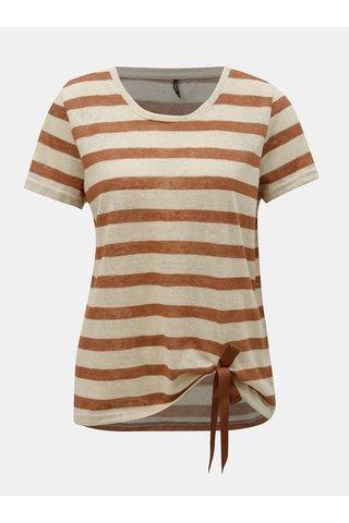 Hnědo-béžové pruhované tričko ONLY Rill